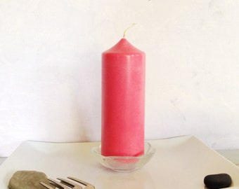 Bright pink soy pillar candle, unscented pillar candle, classic shape candle, romantic candle, eco-friendly pink pillar candle.