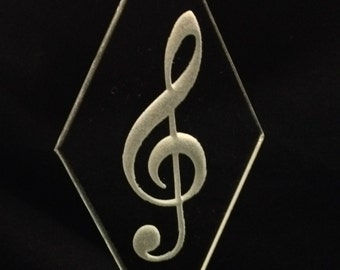 Deep etched beveled glass suncatcher / ornament with G Clef