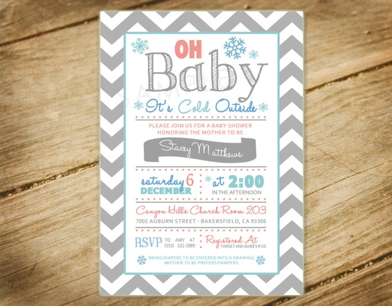 oh baby its cold outside baby shower invitation chevron pink blue