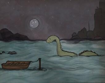 Baby Lochness Monster Nessie Illustration Print!