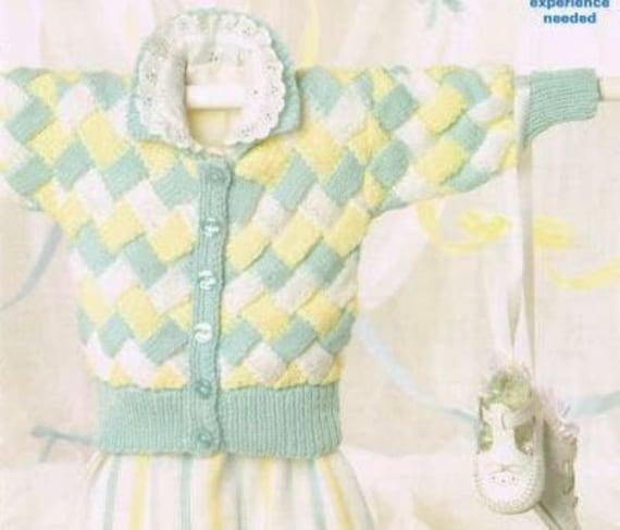 Entrelac Knitting Patterns Sweater : Entrelac baby matinee cardigan vintage knitting pattern PDF