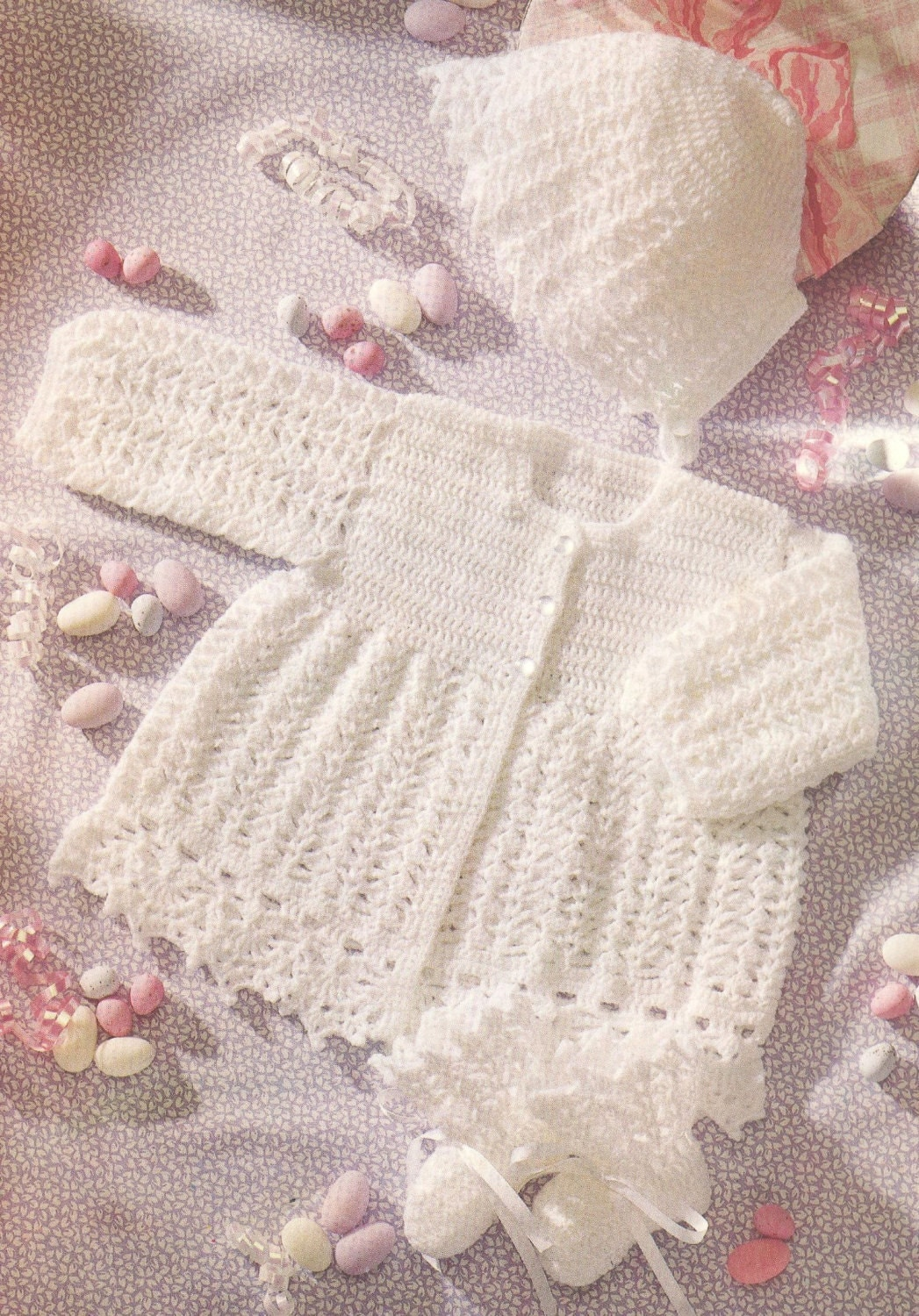 Baby Matinee Coat And Bonnet Vintage Crochet Pattern Pdf