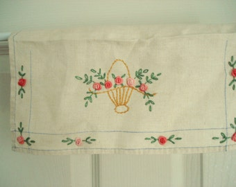 Vintage Lingerie Bag Linen Pouch Linen Envelope Linen Bag Hand Embroidered Pink Roses Shabby Chic