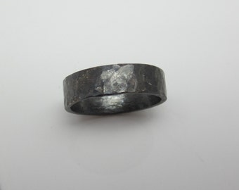 Wide Band Recycled Argentium Sterling Silver 5mm Oxidized and Hammered Unisex Made to Order