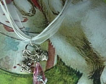 White Ribbon Necklace With Easter Charms -Handmade