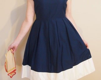 Pleated Navy and White Color Block 1950's Style Dress