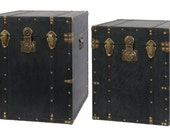 Set of 2 Black Faux Leather, Wood & Brass Storage Trunks