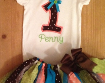 Brown, Coral, Turquoise, and Lime Green Birthday Tutu Outfit