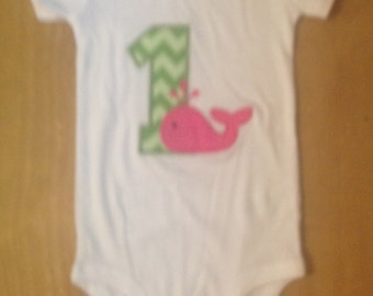 Pink and Green Whale Birthday Shirt or Baby Bodysuit