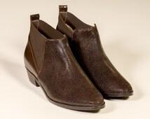 Dark chocolate booties, Brown ankle booties, low heel booties, leather women shoes on sale, glitter boots, cowgirl ankle boots, women boots