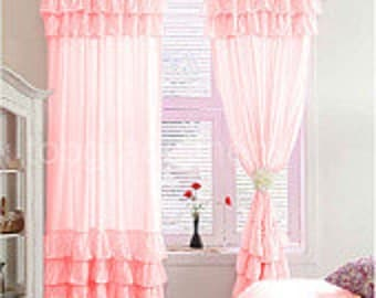 1000 TC Egyptian Cotton Ruffle Curtain Pink Color Choose size