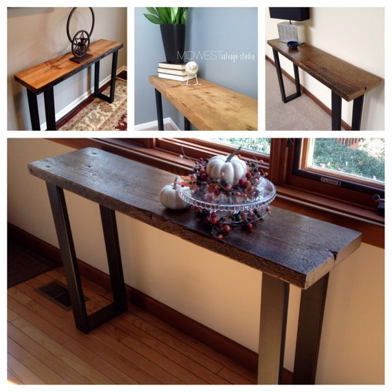 4ft salvaged wood console table with steel legs for 4ft sofa table