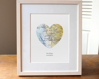 San Diego Heart Print, California State Art, San Diego Map Print, California Art, Custom City Print