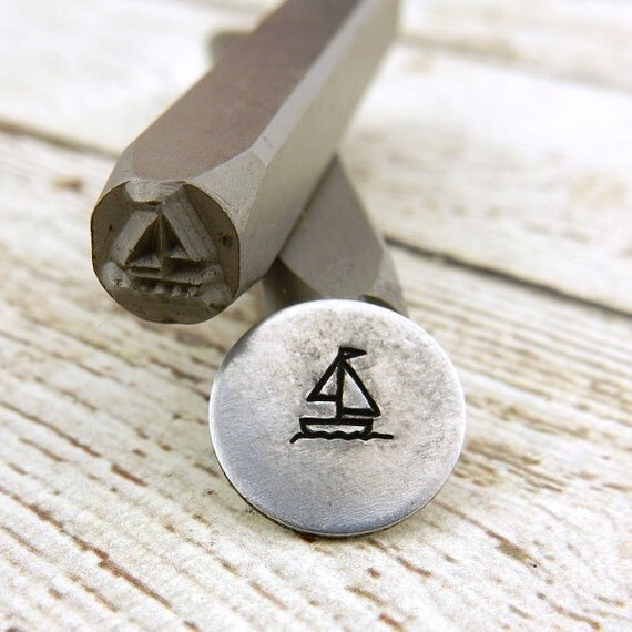 SAILBOAT Metal Stamp 5 mm Sail Boat Design Stamp, Rated for Stainless Steel, Hand Stamping Tool for DIY Jewelry