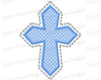 Cross Applique Machine Embroidery Design 4x4 5x7 6x10 Easter Religious Religion Church  INSTANT DOWNLOAD