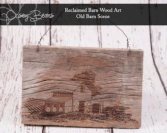 Old Barn Scene Engraved Reclaimed Barn Wood Wall Art