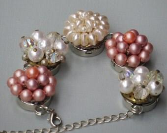 "BRACELET/ Repurposed ""Passion Pink"" Vintage Earring Bracelet/ Vintage Bracelet/ Bridal Bracelet/ Bridal Jewelry/ Vitage Wedding"