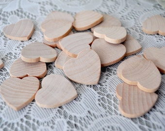 "25 ct Extra Small 0.75 INCH Wood Hearts Natural Wooden Hearts Wedding Craft Hearts Centerpieces Favors 0.75"" hearts 3/4"" wood hearts"