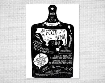 Printable Wedding Menu - Beef - DIY Wedding Stationery PDF