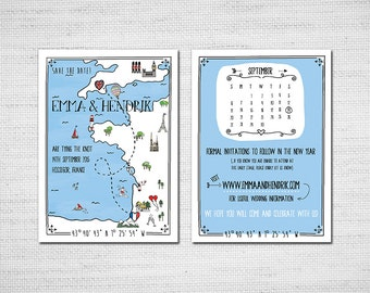 Printable Illustrated Map wedding Invitation or Save the Date Hand drawn PDF
