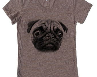 Women Pug Crew Neck T Shirt - American Apparel Crew neck Tshirt - S M L XL