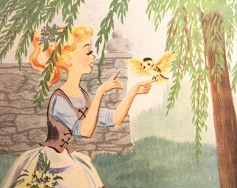 "Cinderella - Vintage print from ""Favourite Goodnight Stories"", circa 1970s"