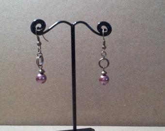 Antique Brass Drop Earrings with Purple Glass Pearls