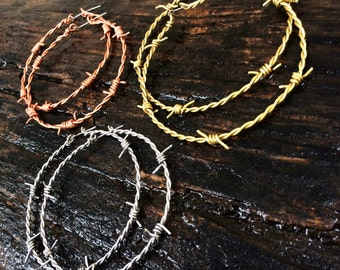 Custom Barbed Wire Hoop Earrings - Pick Size & Color - Thicker Wire