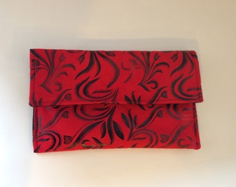Red Suede With Black Floral Print Envelope  Clutch Purse