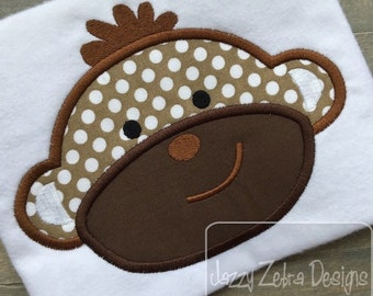 Monkey Appliqué Embroidery Design - zoo appliqué design - circus appliqué design - monkey appliqué design