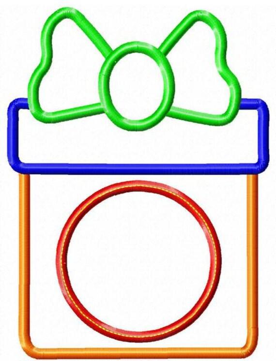 Present with monogram circle appliqué embroidery design