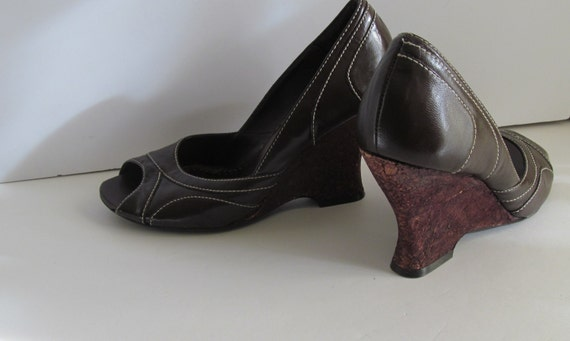 prom shoes 80s brown cork wedge shoes sz by