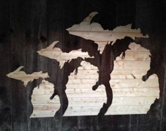 Hand Cut Wooden Michigan Wall Art: The Sleeping Bear