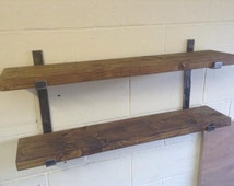 Two Tier Solid Steel Industrial Rustic Urban Adjustable Shelving Unit with Solid wood Shelves