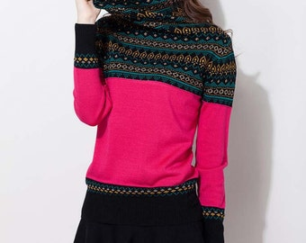 Knitwear / Blouse / Knitted sweater / High collar comfortable pullover