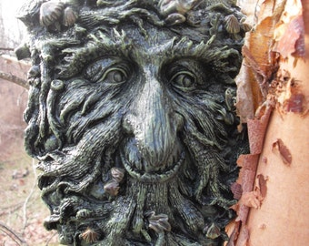 Greenman Statue,Green Man Plaque,Male Tree Spirit,Forest Spirit Statue,Wall Hanging,Nature Spirit Statue, Pagan, Wiccan, Plaque,Stone