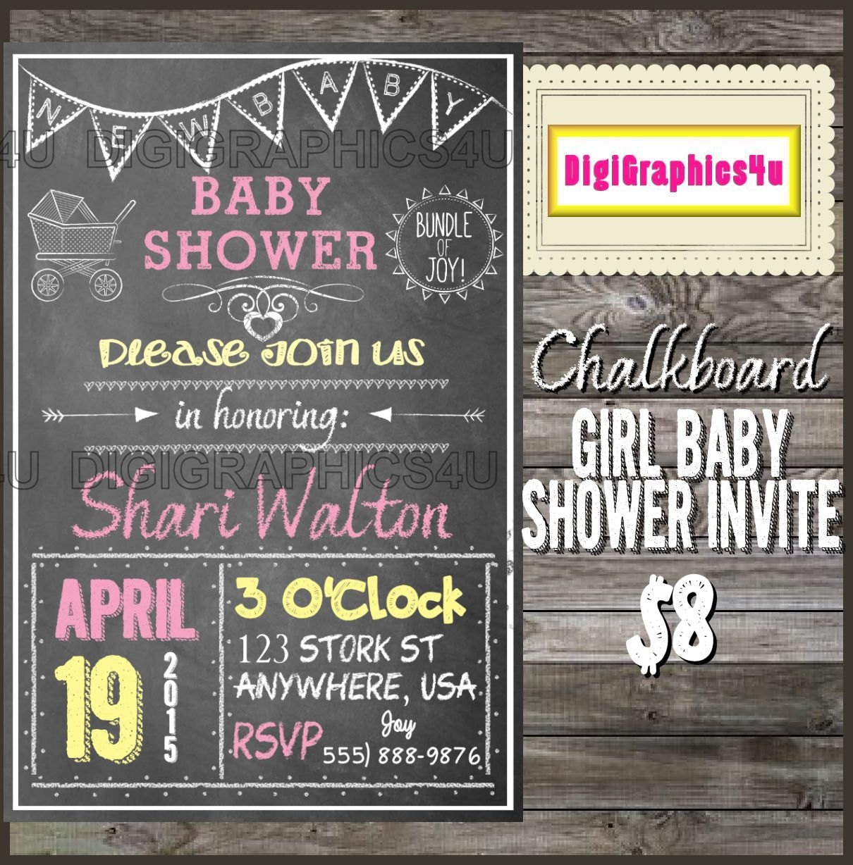 Personalized chalkboard themed girl baby shower invitation printable