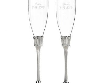 Personalized Wedding Flutes Champagne Romanesque Toasting Glasses Ceremony Engraved
