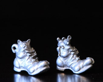 Vintage Mini Pair of Pewter Boots with Cat and Mice
