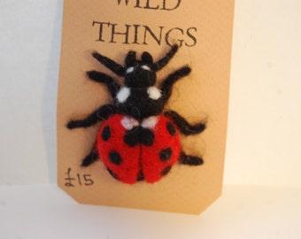 Ladybird Brooch - Needle Felted Badge - wool insect brooch - animal jewellery