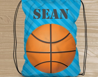 Personalized Drawstring Backpack for Kids - Basketball Backpack for Boys - Fabric Shoe Bag with Basketball - Basketball Drawstring Backpack