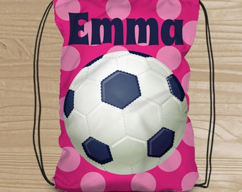 Personalized Drawstring Backpack for Kids - Soccer Backpack for Girls - Fabric Shoe Bag with Soccer Ball - Soccer Drawstring Backpack