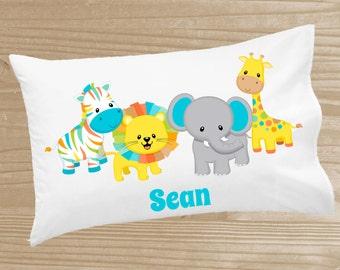 Personalized Kids' Pillowcase - Safari Pillowcase for Boys - Jungle Animal Pillow Case - Custom Safari Pillow Slip