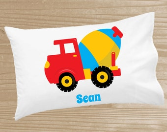 Personalized Kids' Pillowcase - Construction Pillowcase for Boys - Construction Pillow Case - Custom Cement Truck Pillow Slip
