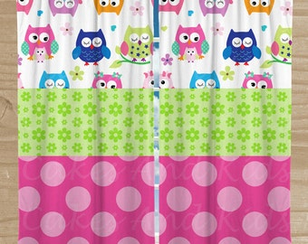 Owls Window Curtains Two Panels Bright Owls Bedroom