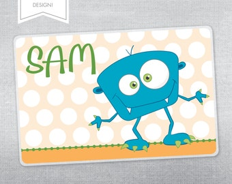 Personalized placemat for kids. Silly monster placemat.