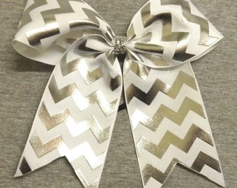 White and Silver Foil Chevron Cheer / Softball / Volleyball Bow