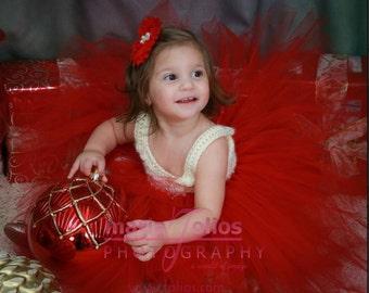 Red and Ivory empire tutu dress, Flower girl tutu dress, Birthday tutu dress, empire tutu dress, crochet tutu dress, toddler tutu dress