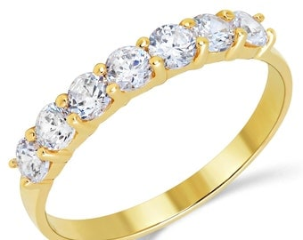 14K Solid Yellow Gold CZ Cubic Zirconia Anniversary Ring Band