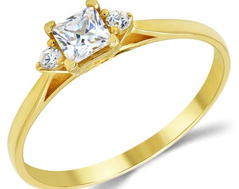 14K Solid Yellow Gold CZ Cubic Zirconia 3 Stone Enagement Ring